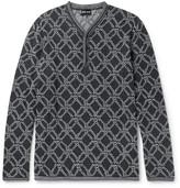 Giorgio Armani - Jacquard-knit Henley Sweater
