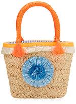 Milly Minis Childrenswear Girls' Small Straw Pompom Tote Bag, Beige