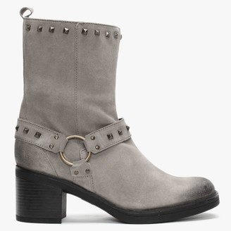 Manas Design Grey Suede Studded Ankle Boots