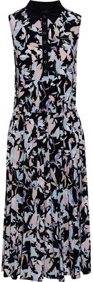 Donna Karan Poplin-trimmed Gathered Printed Stretch-jersey Midi Dress