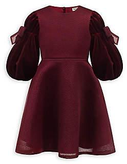 David Charles Little Girl's Velvet Puff-Sleeve Dress