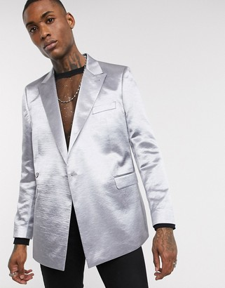 Asos DESIGN slim drape blazer in metallic silver