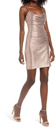 Morgan & Co. Cowl Neck Shimmer Body-Con Dress