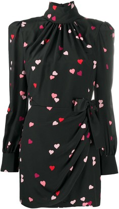 Alessandra Rich Stand-Up Collar Heart Print Dress