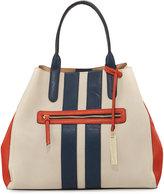 Neiman Marcus Two-Way Striped Tote Bag, Bone/Orange