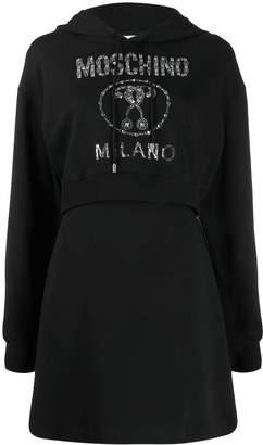 Moschino logo embellished hoodie dress