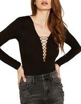Bardot Strung Out Long Sleeve Lace-Up Bodysuit