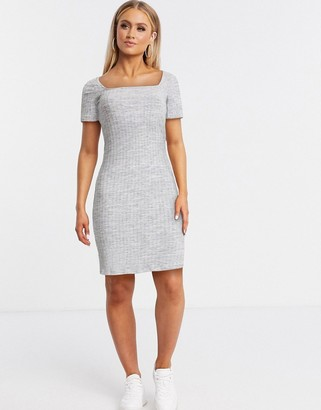 Pimkie square neck ribbed jersey dress in grey