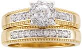 JCPenney MODERN BRIDE 5/8 CT. T.W. Diamond 14K Two-Tone Gold Flower Milgrain Bridal Ring Set
