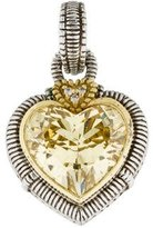 Judith Ripka Two-Tone Canary Crystal & Diamond Heart Pendant