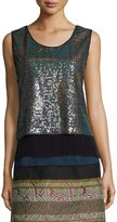 Shamask Crepe-Trimmed Allover Sequin Top