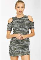 Select Fashion Fashion Womens Green Camo Ribbed Cold Shoulder Dress - size 6