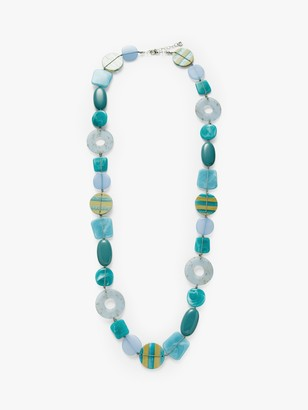 One Button Beaded Long Statement Necklace, Powder Blue/Turquoise