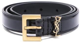 Saint Laurent plaque Keeper-loop Leather Belt - Black