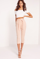 Missguided Crepe Tie Waist Tapered Cropped Pants Pink