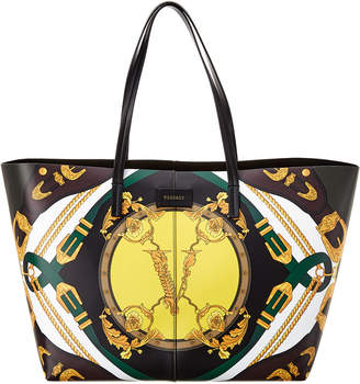 Versace Barocco Print Leather Tote