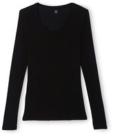 Petit Bateau Womens long-sleeved scoop neck T-shirt in light cotton