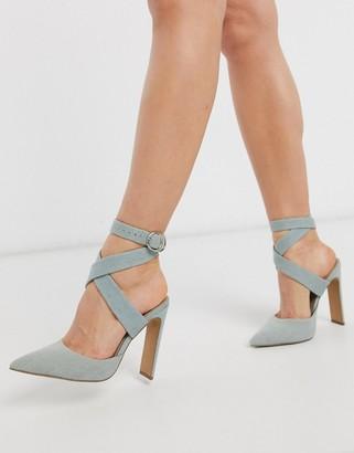 Asos Design DESIGN Pier set back heeled sandals in denim