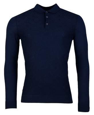 Remus Uomo Long Sleeve Knit Polo Shirt Colour: CAMEL, Size: MEDIUM
