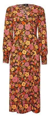 Dorothy Perkins Womens **Lola Skye Multi Colour Floral Print Retro Blouson Dress, Multi Colour