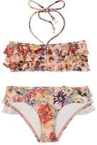 Zimmermann Kids' Lovelorn Frill Floral Bandeau Bikini