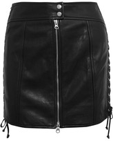 McQ by Alexander McQueen Lace-up Leather Mini Skirt - Black