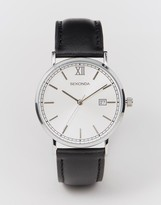 Sekonda Silver Face Black Leather Strap Watch Exclusive to ASOS