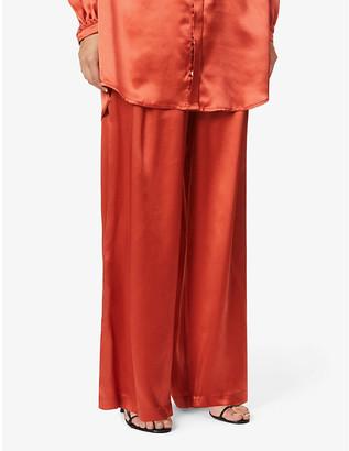 Le Kasha Sansha wide-leg high-rise silk trousers