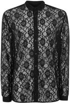 Black Lace Muscle Fit Shirt
