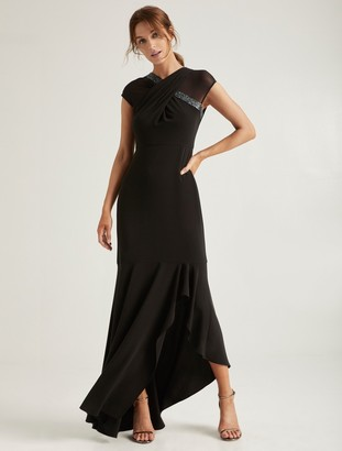 Halston Embellished Neck Gown