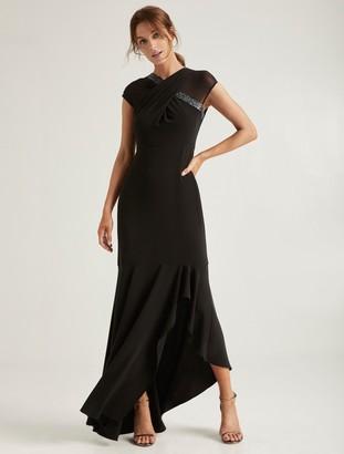 Halston Embellished Neck Gown