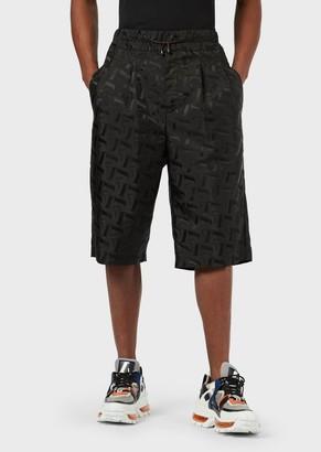 Emporio Armani Oversized, Nylon Bermuda Shorts With Jacquard Lettering