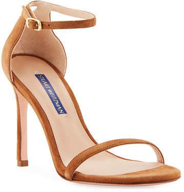 Stuart Weitzman Nudistsong Suede Ankle-Wrap Sandals