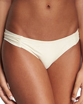 Pilyq Ruched-Side Hipster Swim Bottom, Keshi Pearl