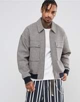 Asos Wool Mix Oversized Harrington Jacket In Check