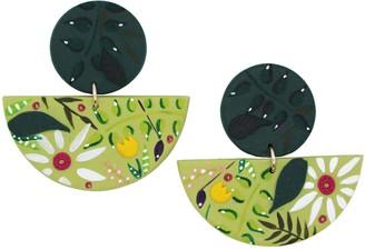Emily Laura Designs Green Half Moon Floral Clay Earrings
