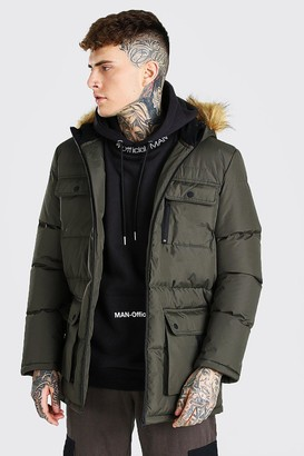 boohoo Mens Green Multi Pocket Quilted Parka With Faux Fur Hood, Green