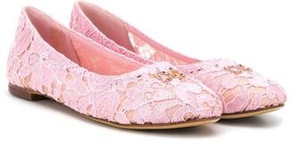 Dolce & Gabbana Lace Embellished Ballerina Flats