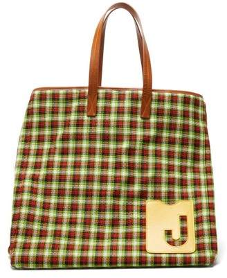 La DoubleJ Big Mama Checked Leather-handle Tote Bag - Green Multi