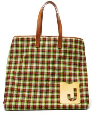 La DoubleJ Big Mama Checked Leather-handle Tote Bag - Womens - Green Multi