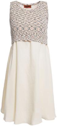 Missoni Marled Ribbed Knit-layered Cotton-gauze Mini Dress