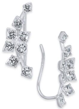 Eliot Danori Silver-Tone Cubic Zirconia Climber Earrings, Created for Macy's