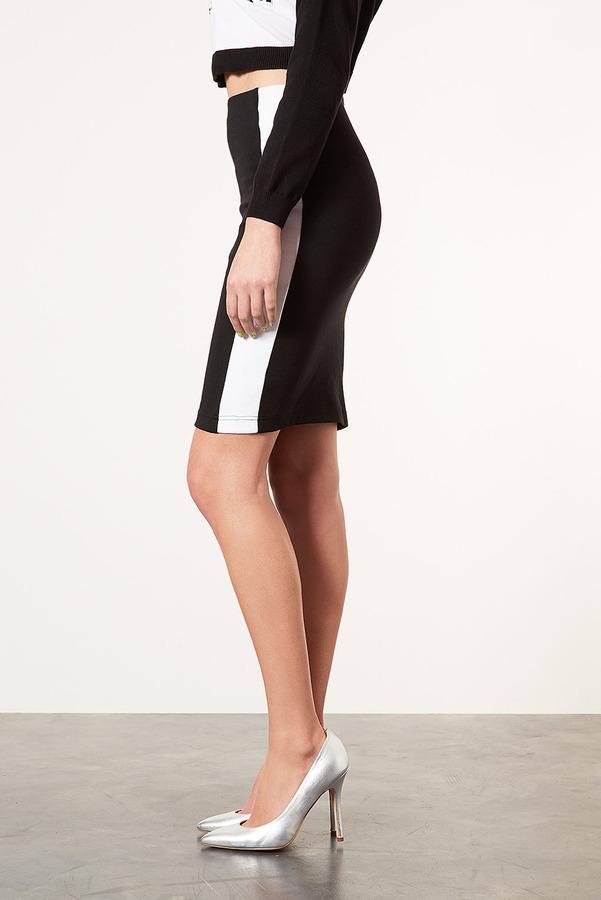 Topshop Side Stripe Tube Skirt