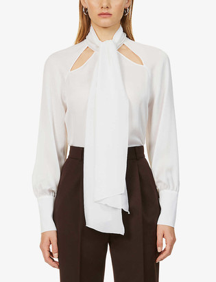 Eleventy Self-tie neck silk-crepe shirt