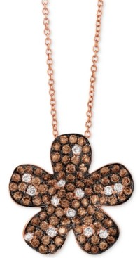 "LeVian Le Vian Red Carpet Diamond Flower 18"" Pendant Necklace (1-3/8 ct. t.w.) in 14k Rose Gold"