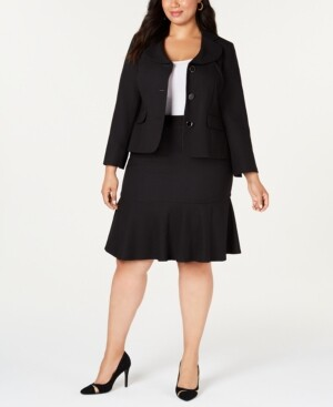 Le Suit Plus Size Three-Button Flared Skirt Suit