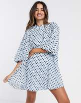Asos Design DESIGN pleated trapeze mini dress with puff sleeves in polka dot