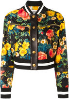 Fausto Puglisi floral print bomber jacket - women - Cotton/Leather/Polyester - 44