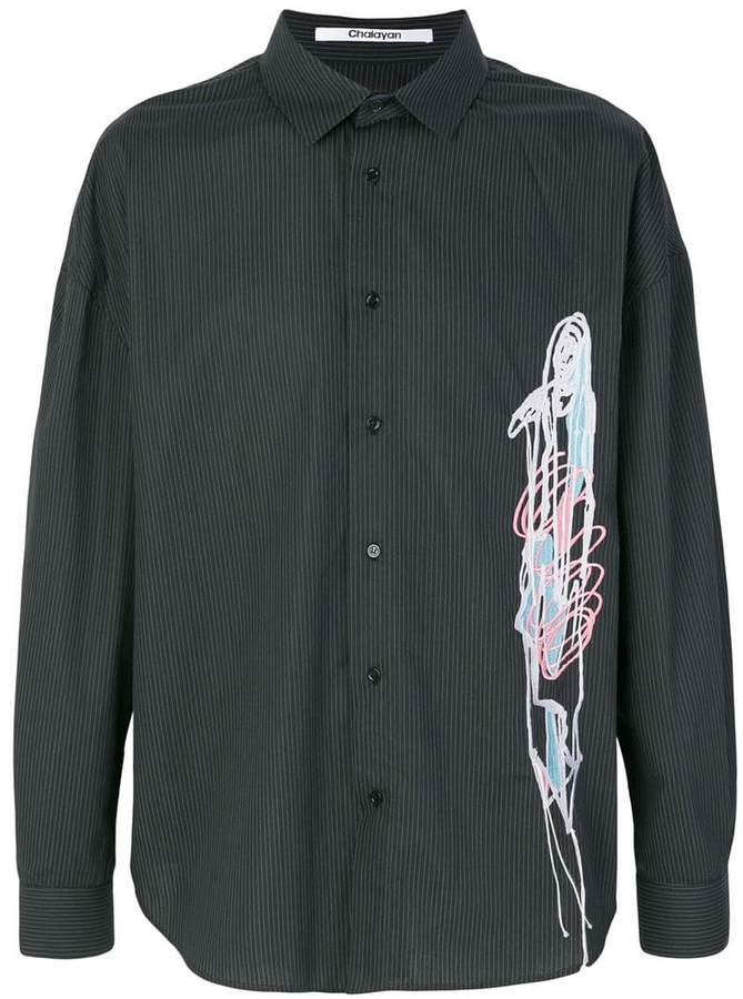 Chalayan embroidered striped shirt