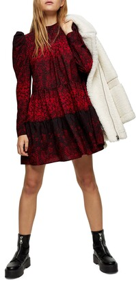 Tiered Pintuck Long Sleeve Minidress